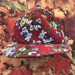 Tropical Island Floral Mens Snapback Red Cap